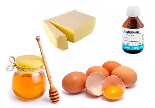 мед, желток, сливочное масло