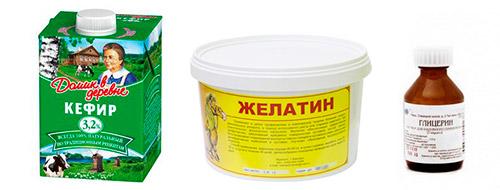 кефир, желатин, глицерин