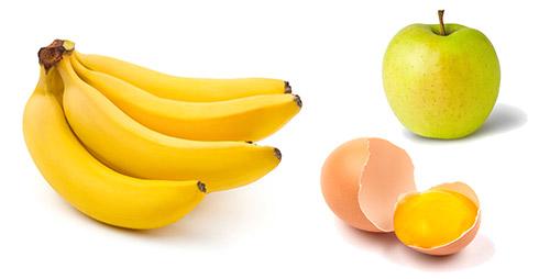 яблоко, желток, банан