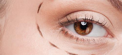 глаз девушки с пунктирными линиями