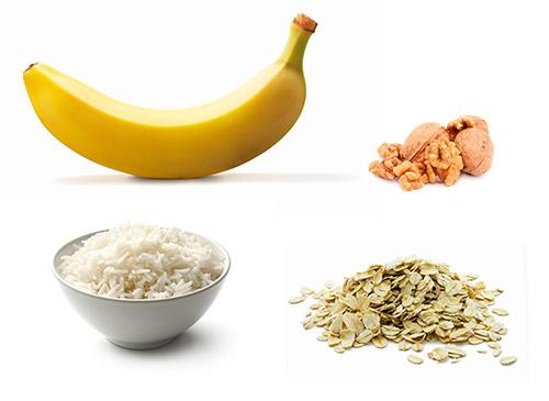 грецкий орех, рис, хлопья, банан