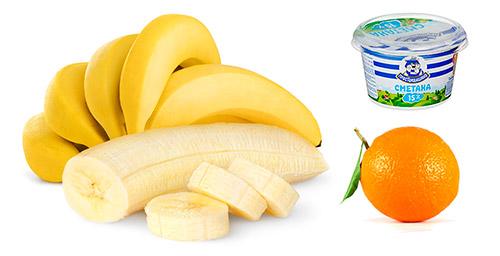 апельсин, сметана, банан