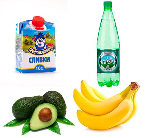 сливки, авокадо, банан, минвода